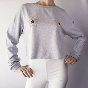 Honey Punch Metallic Stars Embroidered Sweater